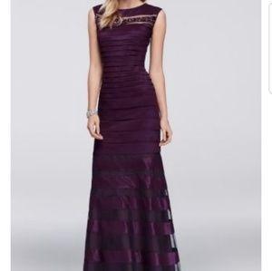 Emma Street Stretch taffeta gown w/ beading
